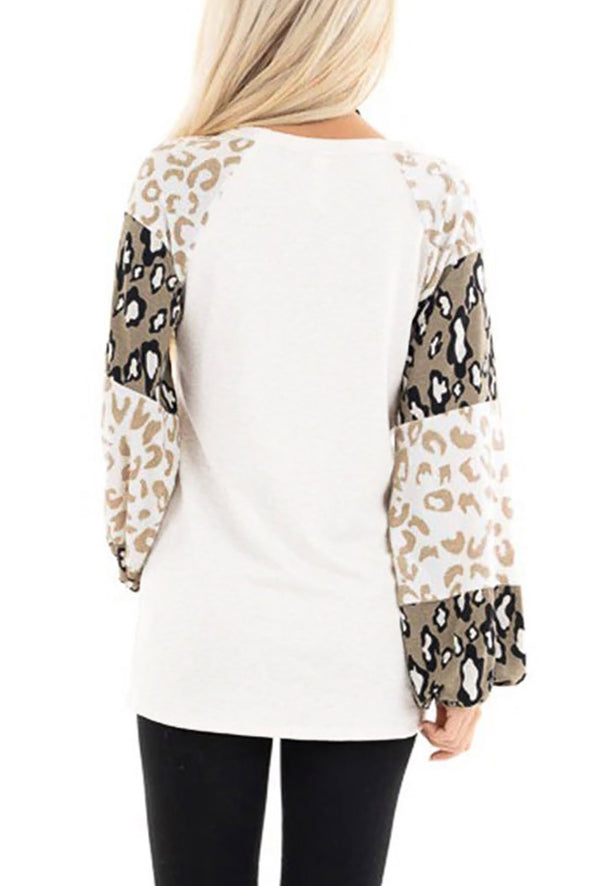 ZESICA Leopard Print Bubble Sleeve Top
