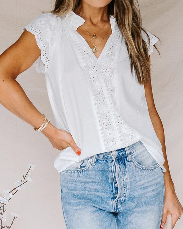 ZESICA Embroidered Eyelet Cap Sleeves Top