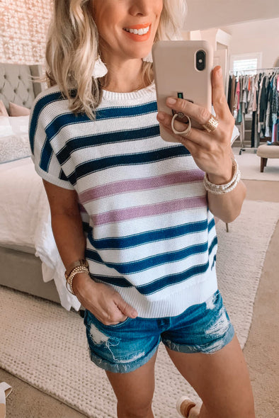 ZESICA Crew Neck Striped Knitted Top