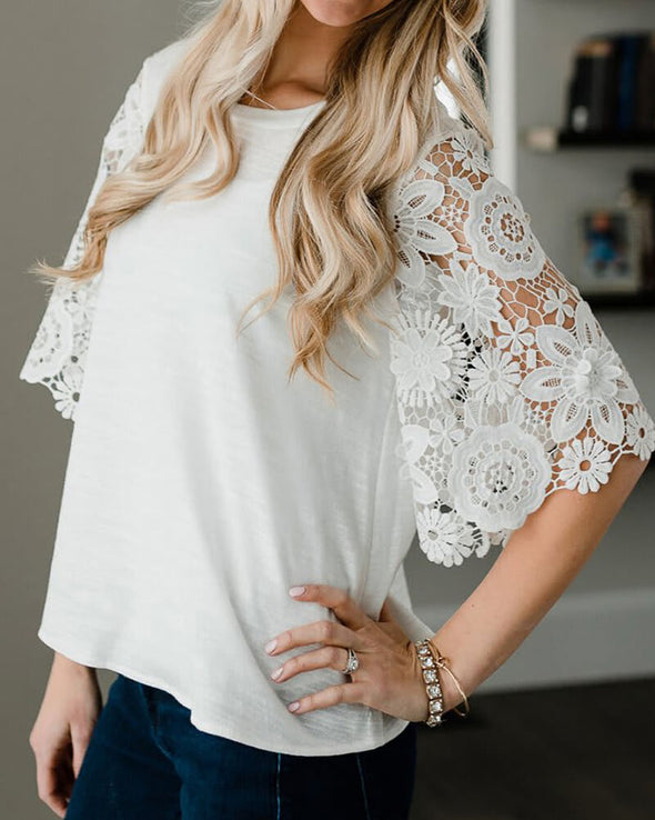 ZESICA Lace Sleeves Tunic Top