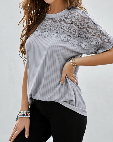 ZESICA Lace Yoke Hollow-out Knit Top