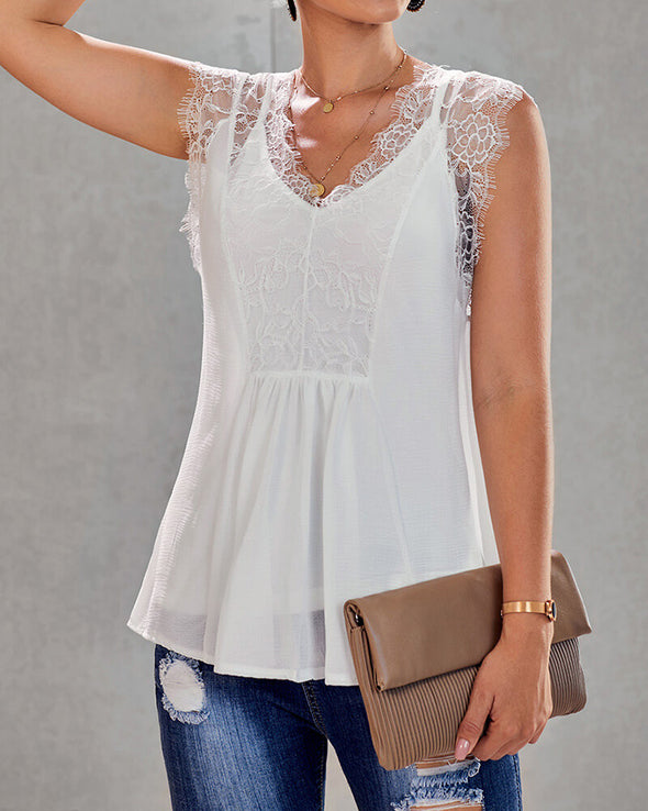 ZESICA Lace Tank Top Set