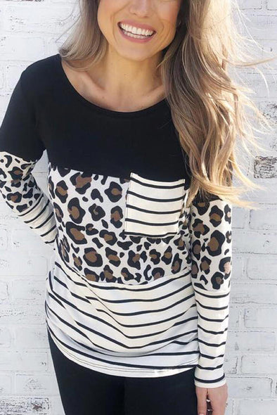 ZESICA Leopard Striped Patchwork Top