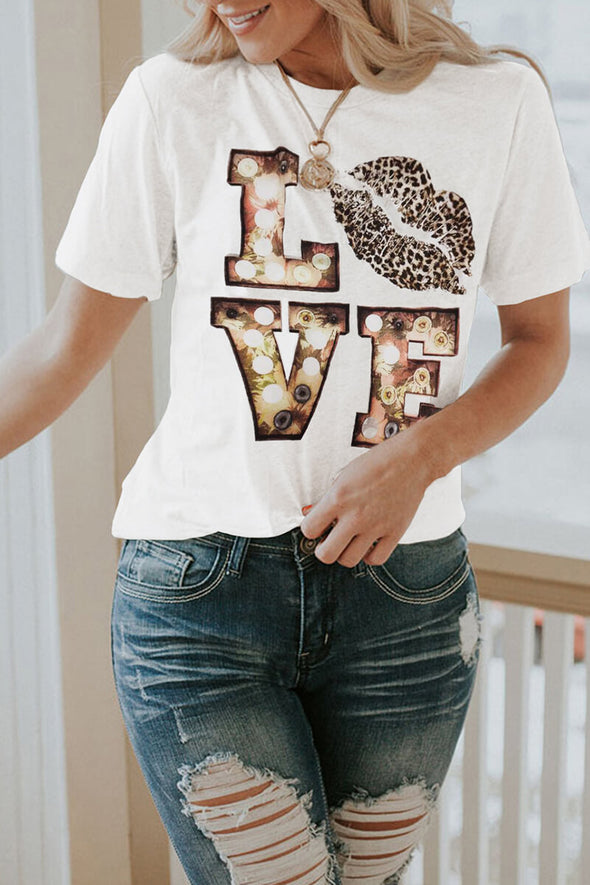 ZESICA Cartoon Letter Print T-shirt