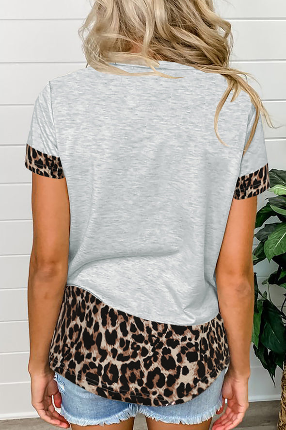 Zesica Sequins Leopard Splicing Tee
