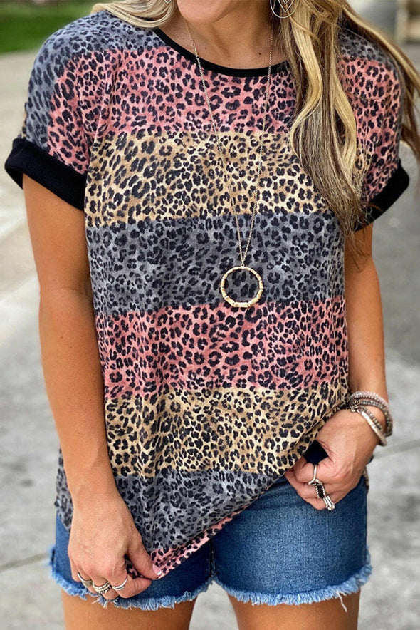ZESICA Leopard Striped Colorblock T-shirt