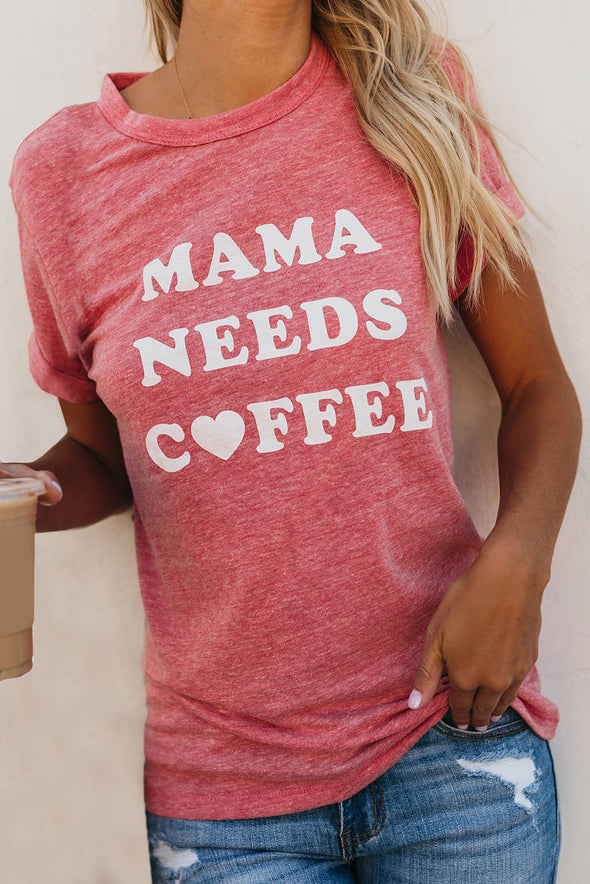 ZESICA Mama Needs Coffee Print Tee