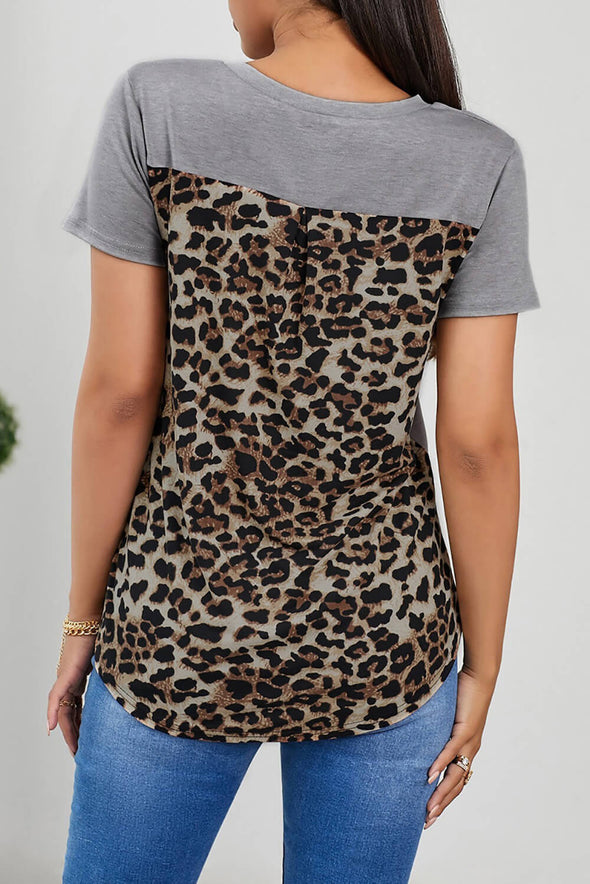 ZESICA Leopard Printed Splicing T-Shirt