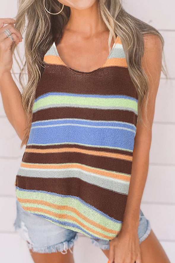 ZESICA Multicolor Striped Knit Tank Top