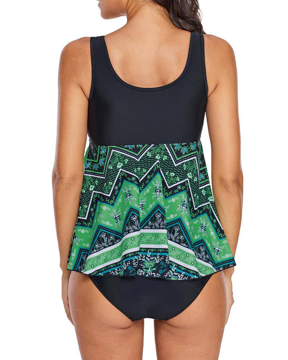 ZESICA Vibrant Print Skirted Tankini Top