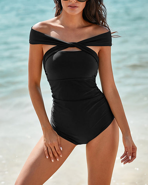 ZESICA Off Shoulder Ruched One-piece Swimwear