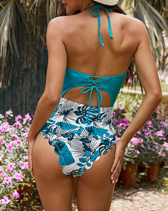 ZESICA Floral Print Halter One-piece Swimsuit