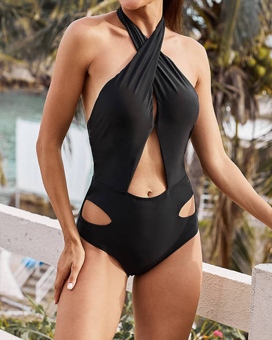 ZESICA Cross Halter Hollow Out One-piece Swimswear