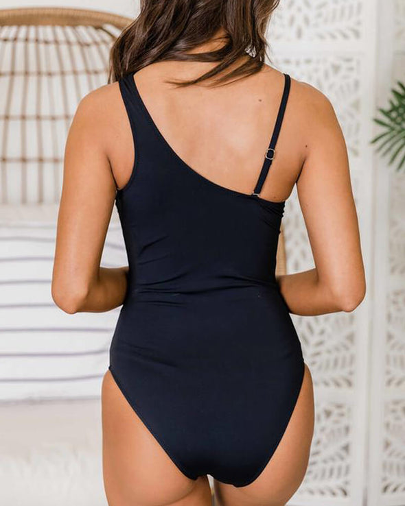 ZESICA One-shoulder Mesh Cuouts One Piece Swimsuit