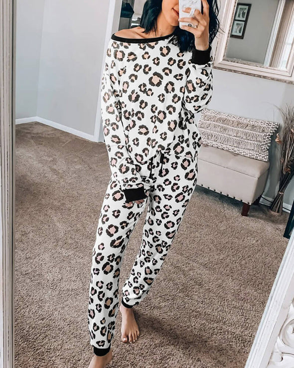 ZESICA Leopard Long Sleeve Lounge Set