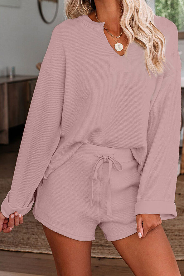 ZESICA Knit Pullover Shorts Lounge Set