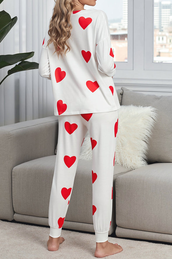 ZESICA Heart Print Long Sleeves Loungewear Set