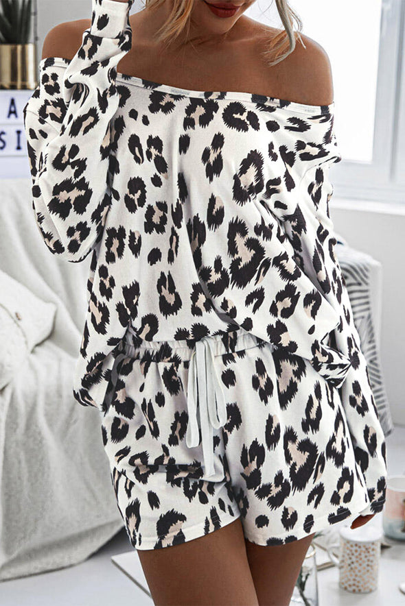 ZESICA Leopard Long Sleeves Lounge Set