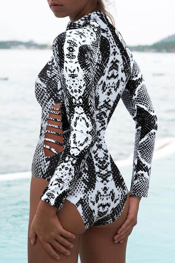 ZESICA Print Zipper Swimsuit