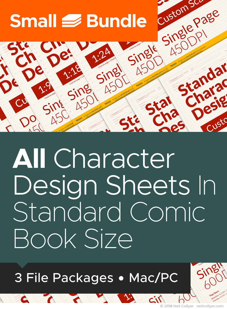 Small Bundle - All Character Design Sheets in Standard Comic Book Size