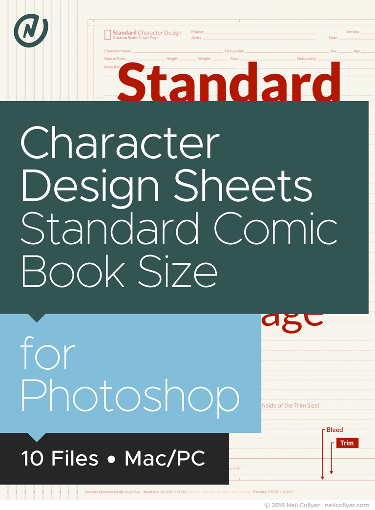 Character Design Sheets in Standard Comic Book Size for Photoshop
