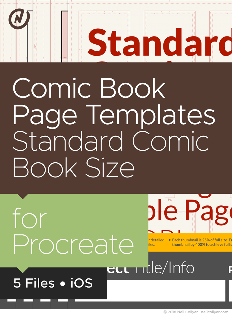 Comic Book Page Templates in Standard Comic Book Size for Procreate