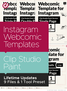 Instagram Webcomic Page Templates for Clip Studio Paint
