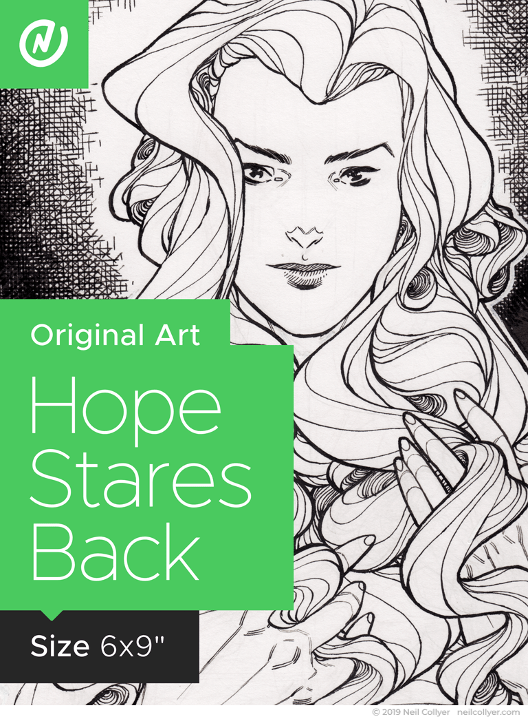 Hope Stares Back - 6x9 Original Art