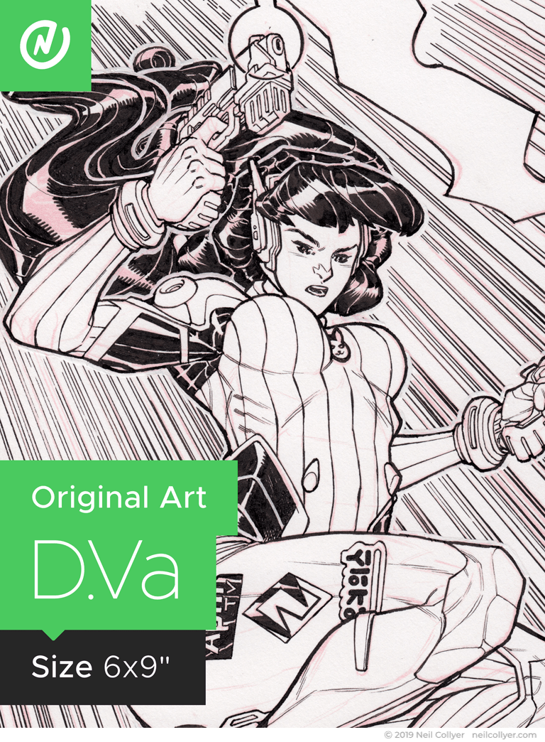 D.Va - 6x9 Original Art