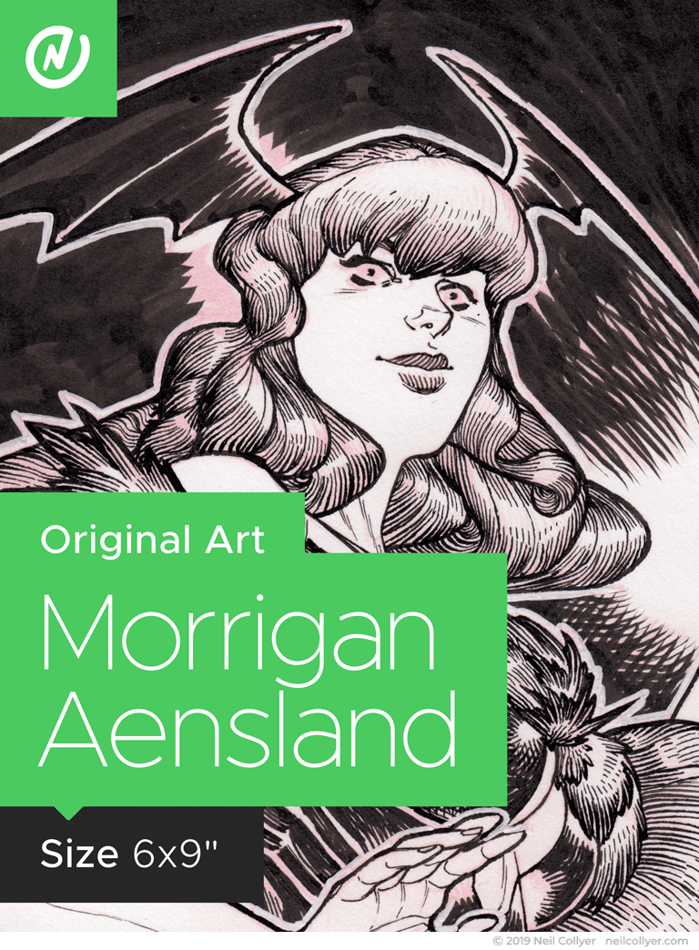 Morrigan Aensland - 6x9 Original Art