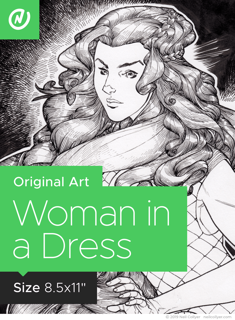 Woman in a Dress - 8.5x11 Original Art