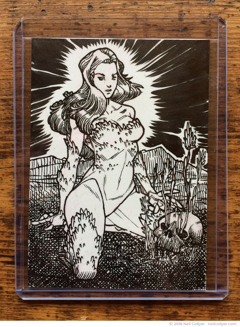 Poison Ivy Original Art Sketch Card by Neil Collyer - Full Card