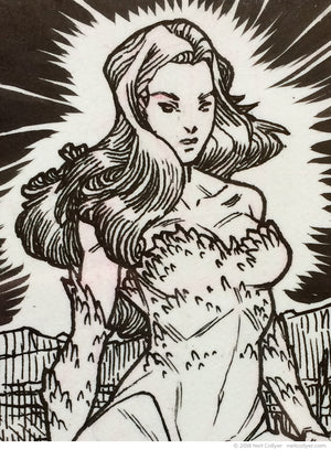 Poison Ivy Original Art Sketch Card by Neil Collyer - Detail 01