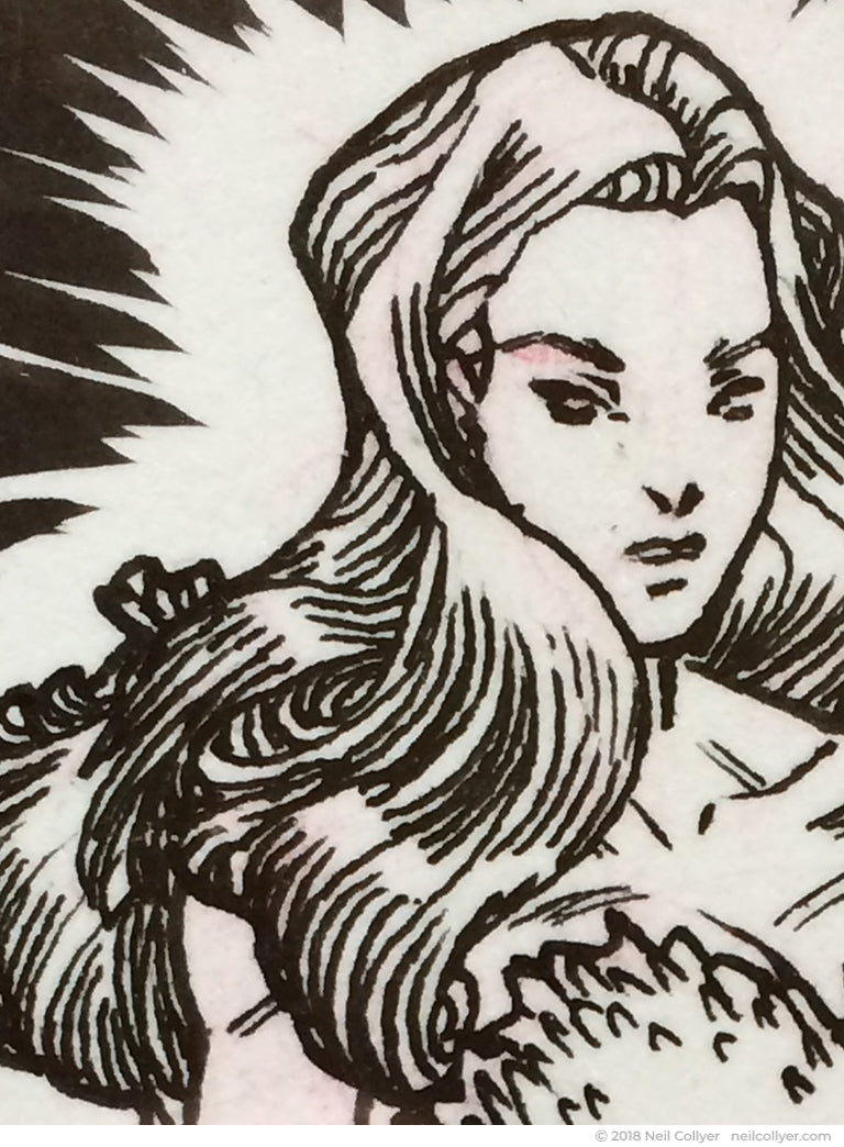 Poison Ivy Original Art Sketch Card by Neil Collyer - Detail 02