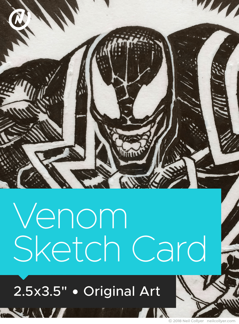 Venom Original Art Sketch Card by Neil Collyer
