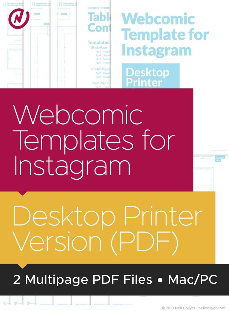 Instagram Webcomic Page Templates for Desktop Printers (PDF Format)