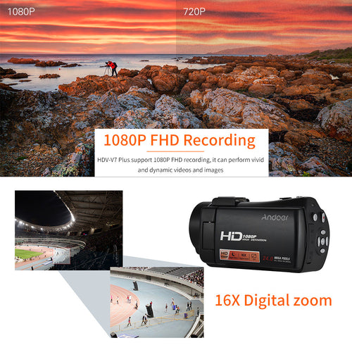 Andoer HDV-V7 PLUS 1080P Full HD 24MP Portable Digital Video Camera Camcorder Remote Control Infrared Night Vision Recorder + 0.45X Wide Angle Lens 16X Zoom 3.0