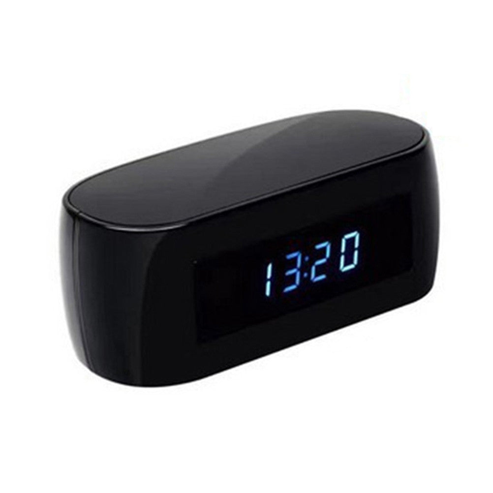 1080P HD WIFI Alarm Clock Hidden Spy Camera Nanny Camera Support Real-time View Night Vision Loop Shooting for Home Security Surveillance - Black - Inntelly