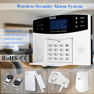 Wireless GSM SMS Home Burglar Security Alarm System Detector Sensor Kit Remote Control 433MHz