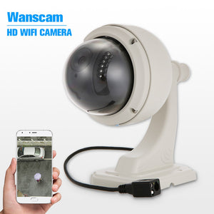 "Wanscam 720P WIFI Camera HD 1.0MP 1/4"" CMOS Wireless Medium Speed Dome Camera PTZ IP Camera 22pcs IR Lamps IR-CUT Night Vision Outdoor Waterproof Phone APP Remote Control Motion Detection for Home Security"