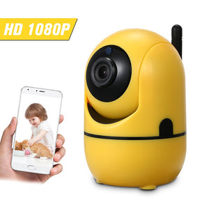 Home Security WIFI Camera 1080P Wireless IP Camera Baby Monitor with Motion Detection Alarm P/T/Z Security Camera, TF Card Record, 2 Way Audio and Night Vision for Baby/Store/Office/Pet/Elder Monitoring, Yellow