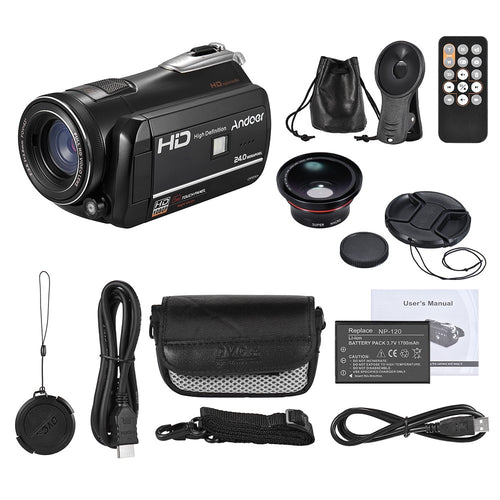 Andoer HDV-D395 Digital Video Camera DV WiFi 1080P 30fps FHD 24M Camcorder 18X Zoom with 72mm 0.39X Wide Angle + Macro Lens/ Remote Control/ IR Infrared Night Vision + LED Light/ 3