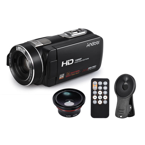 Andoer HDV-Z80 1080P Full HD 24MP Digital Video Camera Camcorder with 0.39X Wide Angle + Macro Lens Remote Control 3