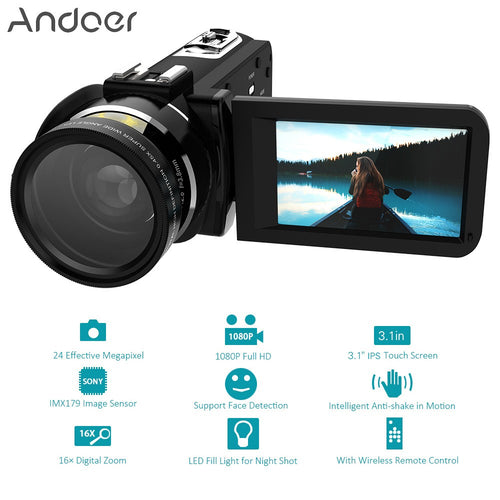 Andoer HDV-Z20 Portable 1080P Full HD Digital Video Camera with 37mm 0.45× Wide Angle Lens Max 24 Mega Pixels 16× Digital Zoom Camcorder 3.1