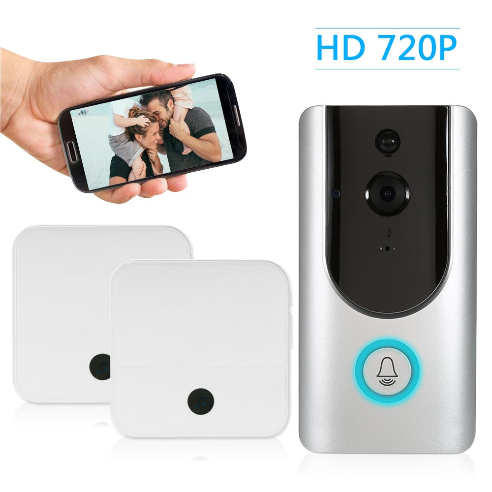 HD 720P WiFi Smart Wireless Security Doorbell with 2PCS 18650 Batteries Smart Visual Intercom Recording Video Door Phone Night Vision Mobile Cruise Remote Monitoring for Home/Factory +2*Wireless Doorbell Chime