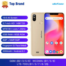 Load image into Gallery viewer, Ulefone S10 Pro Mobile Phone 5.7 HD+ 19:9 2GB RAM 16GB ROM 16MP Android 8.1 MT6739WA Quad Core Face Unlock 4G Smartphone