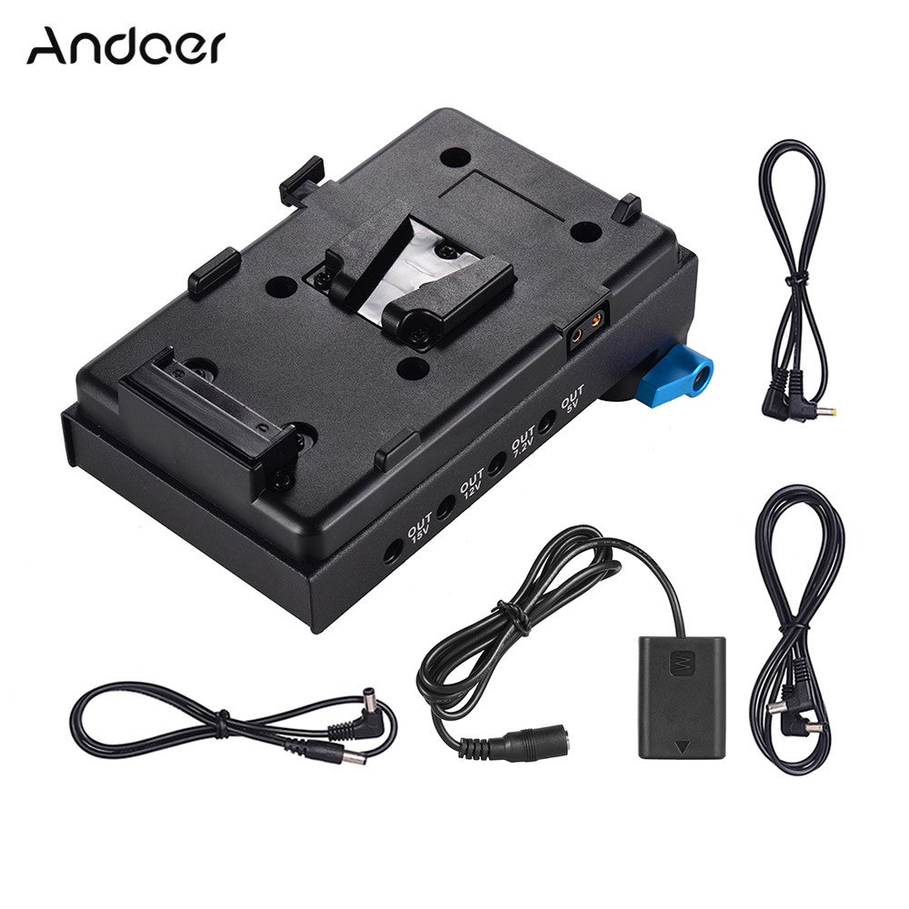 Andoer V Mount V-lock Battery Plate Adapter with 15mm Dual Hole Rod Clamp NP-FW50 Dummy Battery Adapter for BMCC BMPCC Sony A7 A7S A7R A7II A7SII A7RII A7III A7SIII for Monitor Audio Recorder Microphone Frequency Divider - Inntelly