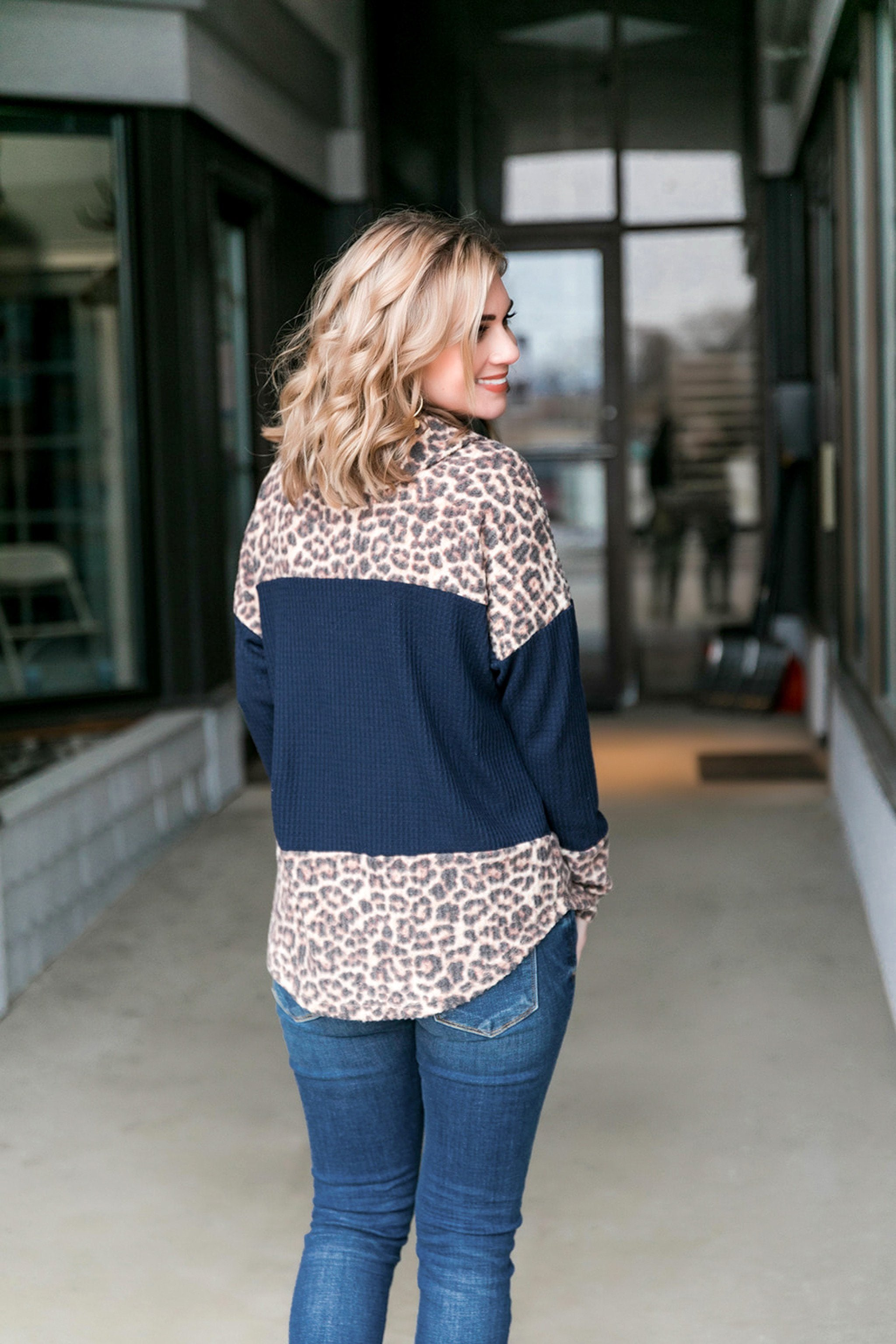 One Cool Cat Navy Cowl Neck Top