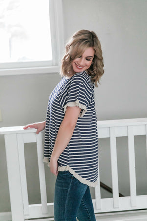 Sail Away With Me In Navy Stripes