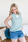 You Pick The Spot Aqua Sleeveless Top